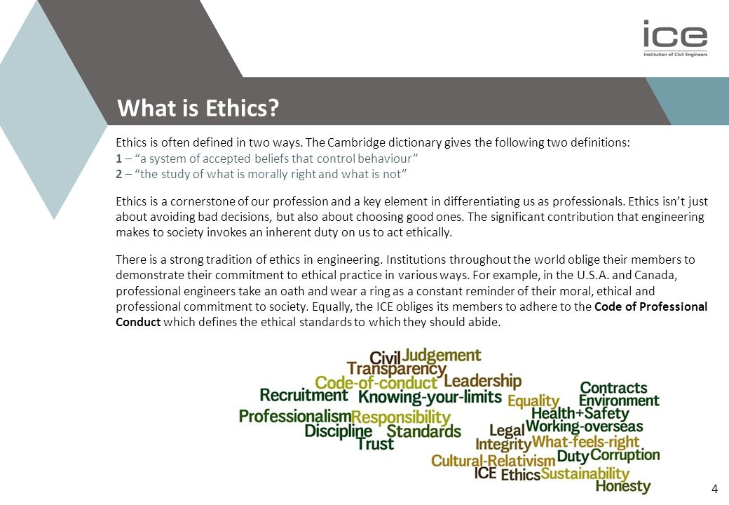 Professional Guidance ICE Ethics Webpage and Community www.ice.org.uk/topics/ethics and www.ice.org.uk/icecomm/Groups/Ethics.aspx ICE Code of Professional Conduct www.ice.org.uk/About-ICE/What-we-do/Professional-conduct ICE Advice on Ethical Conduct www.ice.org.uk/Information-resources/Document-Library/Advice-on-ethical-conduct Royal Academy of Engineering www.raeng.org.uk Further Reading Engineering in Society, Royal Academy of Engineering Introduction to Engineering Ethics, Mike Martin and Roland Schinzinger Ethics in Engineering, Mike Martin and Roland Schinzinger Introduction to Business Ethics, Joseph Desjardins Environmental Ethics, John Benson The Ethics of Climate Change: Right and Wrong in a Warming World, James Garvey Adapt, Tim Harford Engineers Australia Value Exchange Forum engineersaustralia.vxcommunity.com Online Ethics Centre www.onlineethics.org Further Reading 25