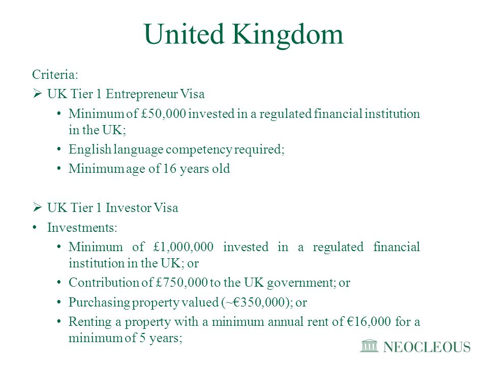 AdvantagesDisadvantages UK Tier 1 Entrepreneur Visa Set up or take over the running of 1 business or more Work for your business, including being self-employed UK Tier 1 Investor Visa Work and/or study in the UK International business centre You can apply to settle after 2 years if £10 million is invested after 3 years if £5 million is invested UK Tier 1 Entrepreneur Visa Cannot work outside your business, e.g.