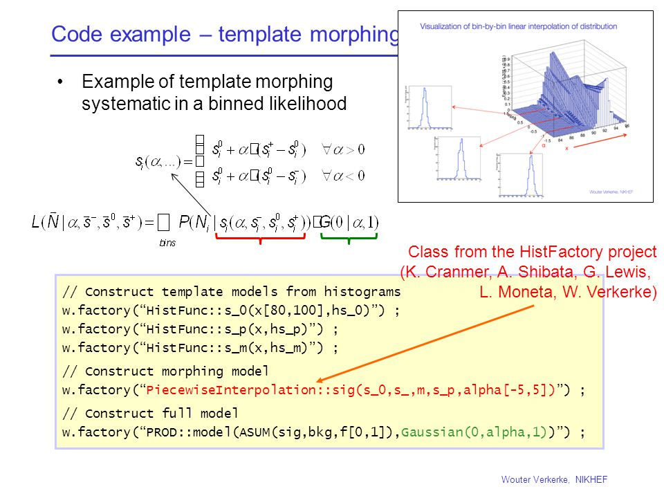 Code example – template morphing Example of template morphing systematic in a binned likelihood Wouter Verkerke, NIKHEF // Construct template models from histograms w.factory( HistFunc::s_0(x[80,100],hs_0) ) ; w.factory( HistFunc::s_p(x,hs_p) ) ; w.factory( HistFunc::s_m(x,hs_m) ) ; // Construct morphing model w.factory( PiecewiseInterpolation::sig(s_0,s_,m,s_p,alpha[-5,5]) ) ; // Construct full model w.factory( PROD::model(ASUM(sig,bkg,f[0,1]),Gaussian(0,alpha,1)) ) ; Class from the HistFactory project (K.