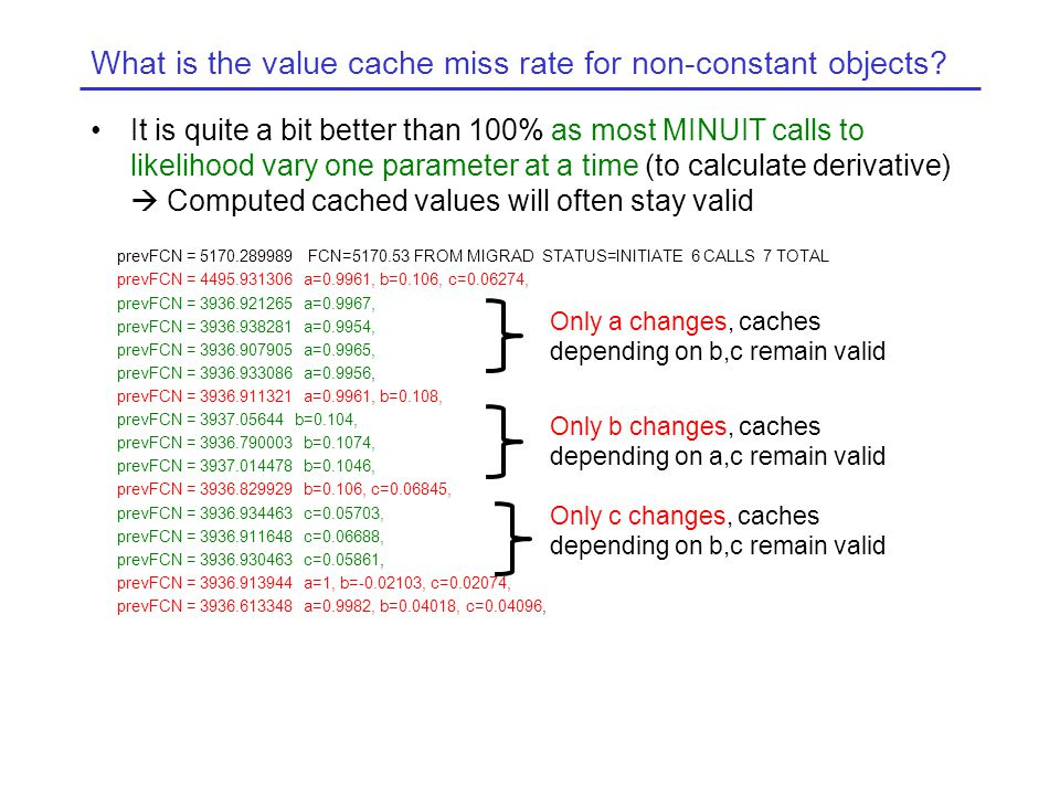 What is the value cache miss rate for non-constant objects.