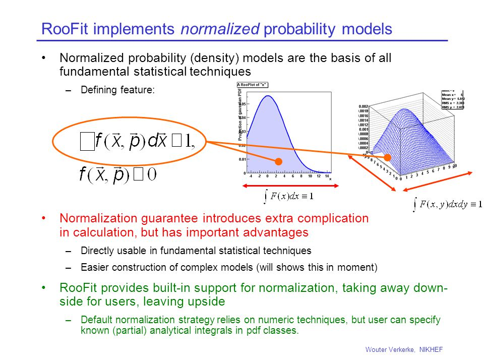 RooFit implements normalized probability models Normalized probability (density) models are the basis of all fundamental statistical techniques –Defining feature: Normalization guarantee introduces extra complication in calculation, but has important advantages –Directly usable in fundamental statistical techniques –Easier construction of complex models (will shows this in moment) RooFit provides built-in support for normalization, taking away down- side for users, leaving upside –Default normalization strategy relies on numeric techniques, but user can specify known (partial) analytical integrals in pdf classes.