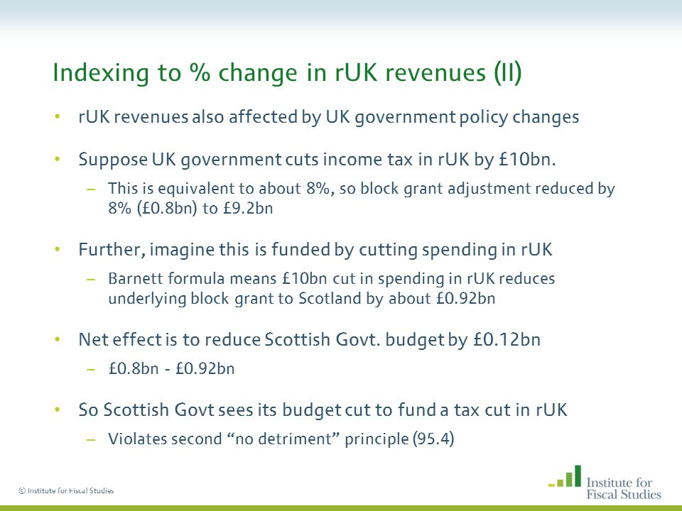 © Institute for Fiscal Studies Indexing to % change in rUK revenues (II) rUK revenues also affected by UK government policy changes Suppose UK government cuts income tax in rUK by £10bn.