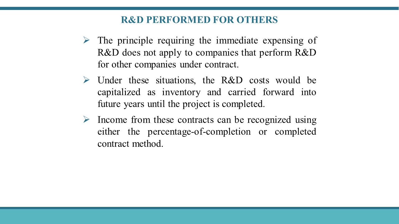 Exercise 10–27, page 573 Research and development expense: Salaries and wages for lab research $ 400,000 Materials used in R&D projects 200,000 Fees paid to outsiders for R&D projects 320,000 Depreciation on R&D equipment 120,000 Total $1,040,000 The patent filing and legal costs are capitalized as the cost of the patent.