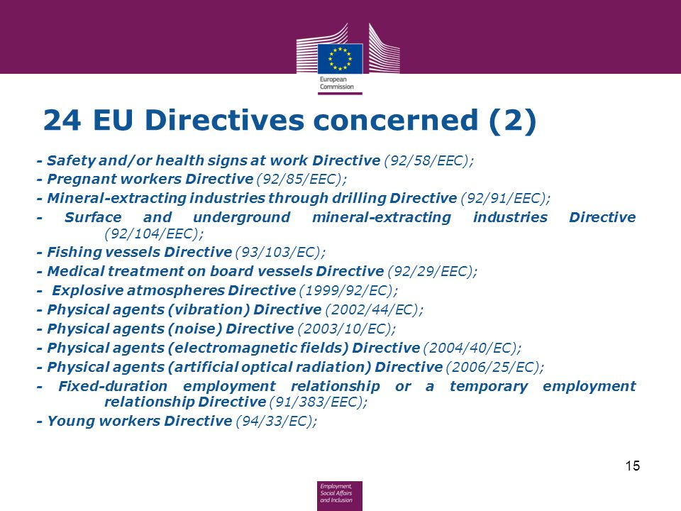 24 EU Directives concerned (2) - Safety and/or health signs at work Directive (92/58/EEC); - Pregnant workers Directive (92/85/EEC); - Mineral-extract