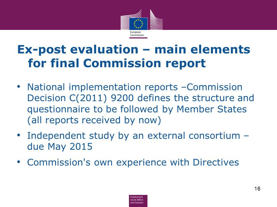 Ex-post evaluation – main elements for final Commission report National implementation reports –Commission Decision C(2011) 9200 defines the structure