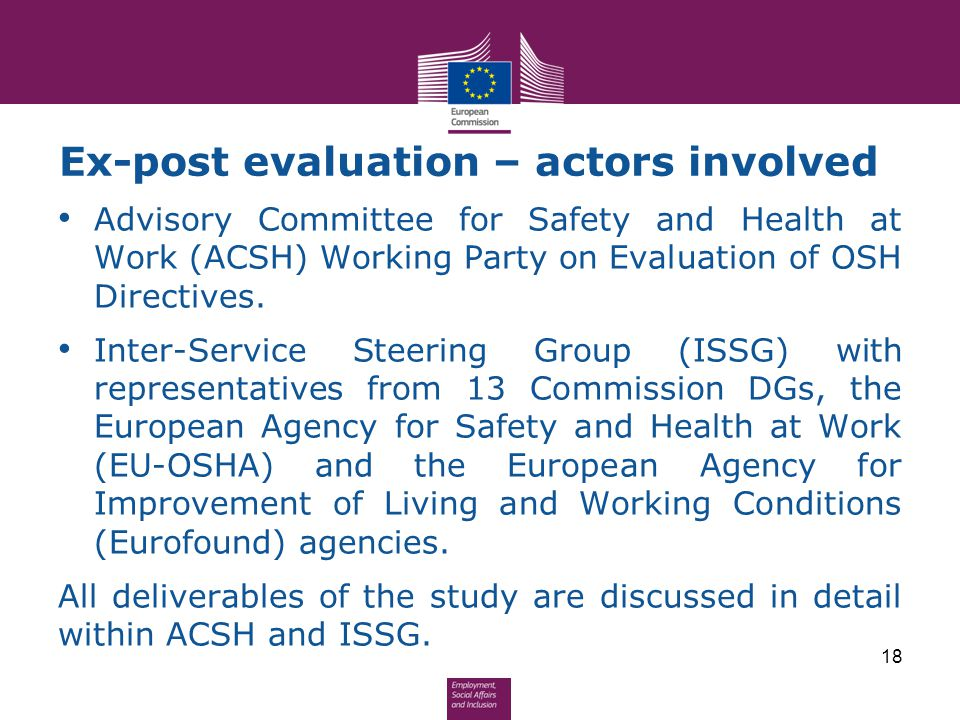 Ex-post evaluation – actors involved Advisory Committee for Safety and Health at Work (ACSH) Working Party on Evaluation of OSH Directives. Inter-Serv