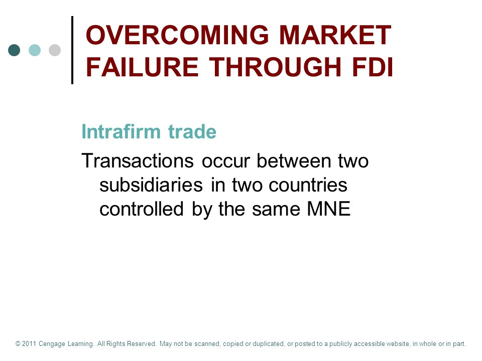 OVERCOMING MARKET FAILURE THROUGH FDI Intrafirm trade Transactions occur between two subsidiaries in two countries controlled by the same MNE