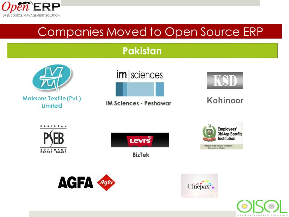 Companies Moved to Open Source ERP Maksons Textile (Pvt.) Limit ed IM Sciences - Peshawar Kohinoor BizTek