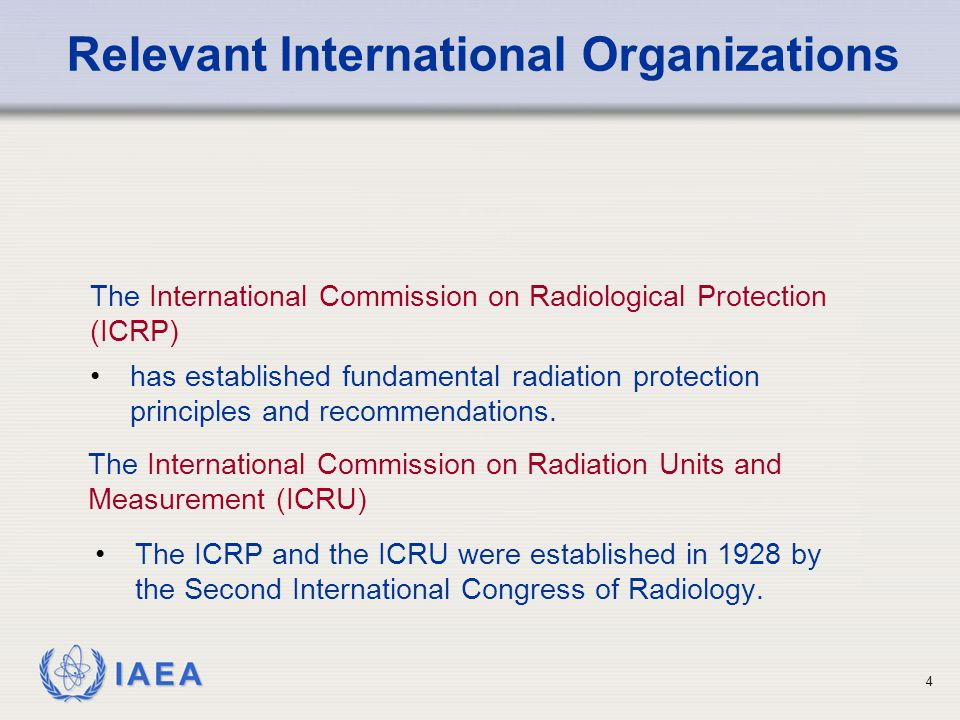 IAEA 35 Government Regulatory body or other national authority Registrant and licensee (main responsibility for application of Standards) Employers Radiological medical practitioner Manufacturers and other suppliers Providers of consumer products Emergency response organizations Responsibilities for implementing requirement assigned to: Responsibilities