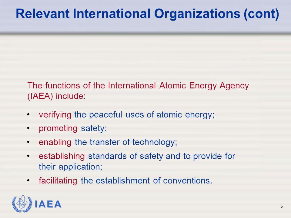 IAEA 7 Food and Agricultural Organization (FAO) International Labour Organization (ILO) World Health Organization (WHO) Nuclear Energy Agency of the OECD (NEA) Pan American Health Organization (PAHO) Other Organizations