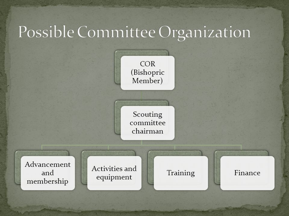 COR (Bishopric Member) Scouting committee chairman Advancement and membership Activities and equipment TrainingFinance