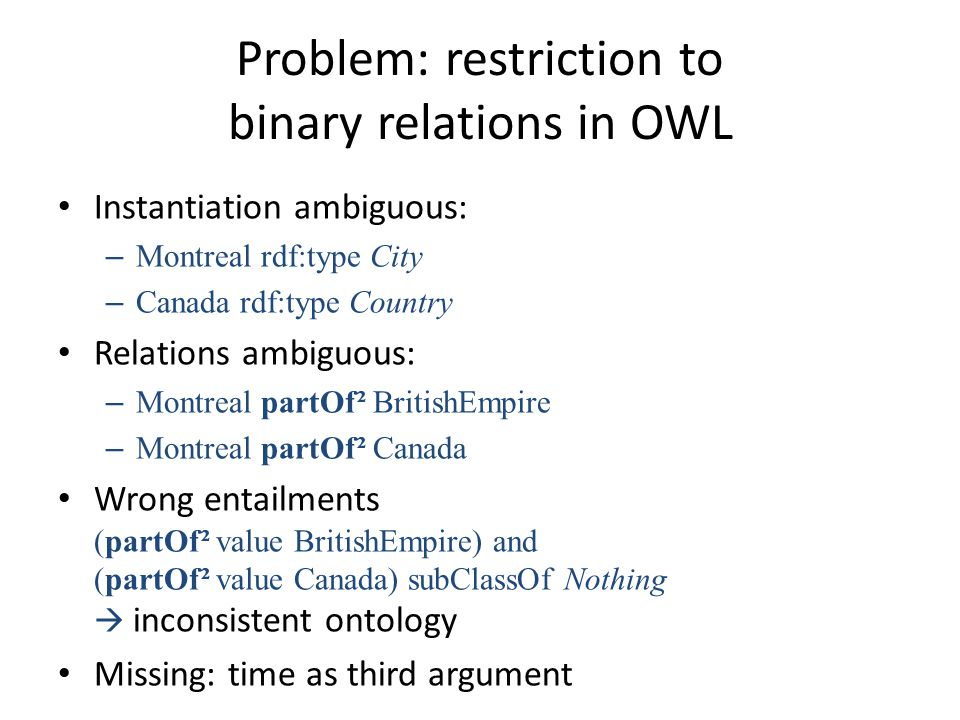 Problem: restriction to binary relations in OWL Instantiation ambiguous: – Montreal rdf:type City – Canada rdf:type Country Relations ambiguous: – Montreal partOf² BritishEmpire – Montreal partOf² Canada Wrong entailments (partOf² value BritishEmpire) and (partOf² value Canada) subClassOf Nothing  inconsistent ontology Missing: time as third argument