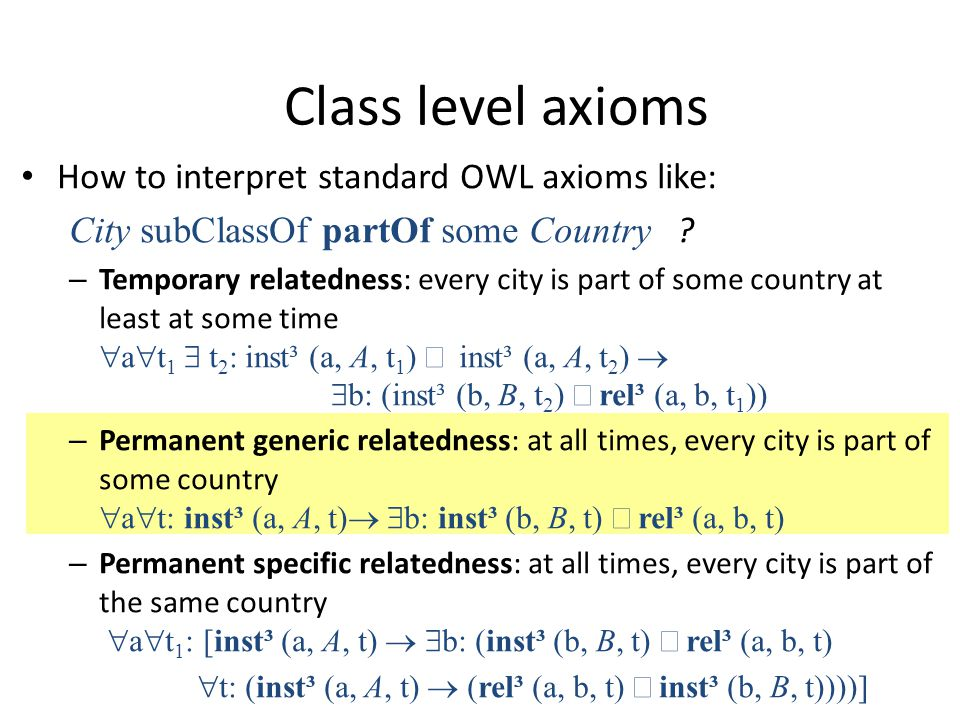 How to interpret standard OWL axioms like: City subClassOf partOf some Country .