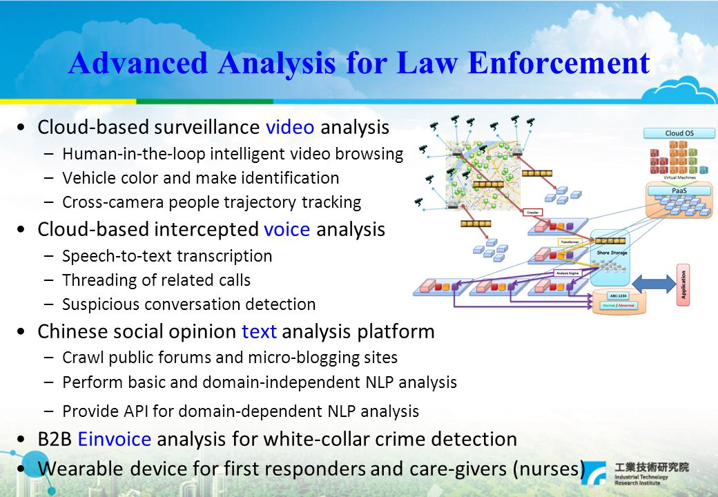Advanced Analysis for Law Enforcement Cloud-based surveillance video analysis –Human-in-the-loop intelligent video browsing –Vehicle color and make identification –Cross-camera people trajectory tracking Cloud-based intercepted voice analysis –Speech-to-text transcription –Threading of related calls –Suspicious conversation detection Chinese social opinion text analysis platform –Crawl public forums and micro-blogging sites –Perform basic and domain-independent NLP analysis –Provide API for domain-dependent NLP analysis B2B Einvoice analysis for white-collar crime detection Wearable device for first responders and care-givers (nurses)