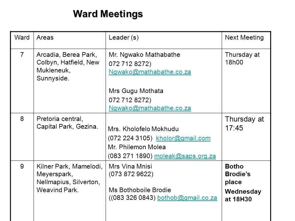 Meetings  Youth meeting with Rev Maruping today after the church service  CWM general prayer meeting will be held today