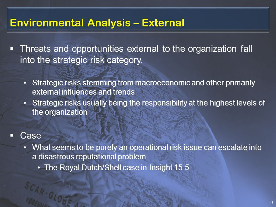 Environmental Analysis – External  Threats and opportunities external to the organization fall into the strategic risk category.