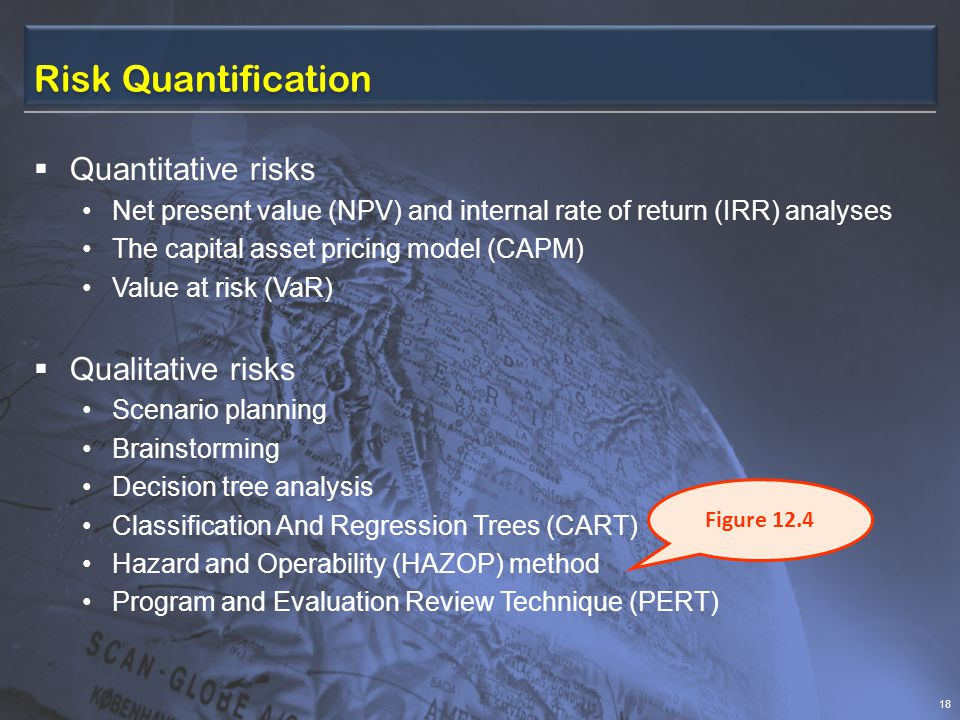 Risk Quantification  Quantitative risks Net present value (NPV) and internal rate of return (IRR) analyses The capital asset pricing model (CAPM) Value at risk (VaR)  Qualitative risks Scenario planning Brainstorming Decision tree analysis Classification And Regression Trees (CART) Hazard and Operability (HAZOP) method Program and Evaluation Review Technique (PERT) 18 Figure 12.4