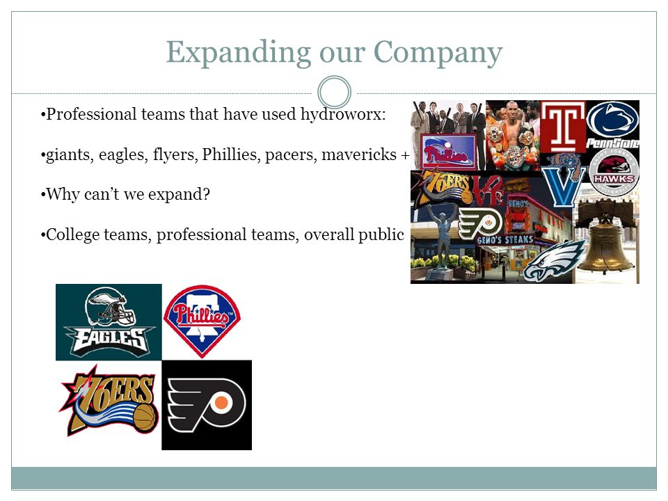 Expanding our Company Professional teams that have used hydroworx: giants, eagles, flyers, Phillies, pacers, mavericks + Why can't we expand.