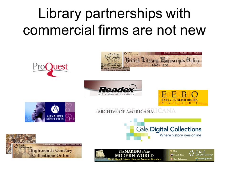Library partnerships with commercial firms are not new