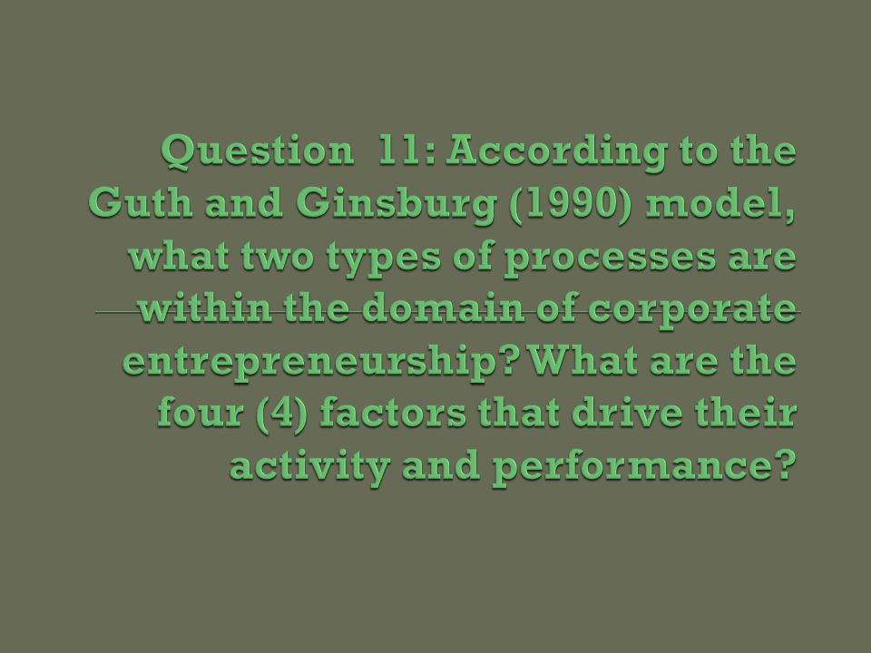 E ENVIRONMENT Competitive Technological Social Political STRATEGIC LEADERS Characteristics Values/Beliefs Behavior ORGANIZATION CONDUCT / FORM Strategy Structure Process Culture ORGANIZATION PREFORMANCE Effectiveness Efficiency Stakeholder Satisfaction CORPORATE ENTREPRENEURSHIP (1) (2)(3)(4) (5) Innovation / Venturing within Established Corporations Strategic Renewal of Established Corporations Fitting Corporate Entrepreneurship Into Strategic Management Source: William D.