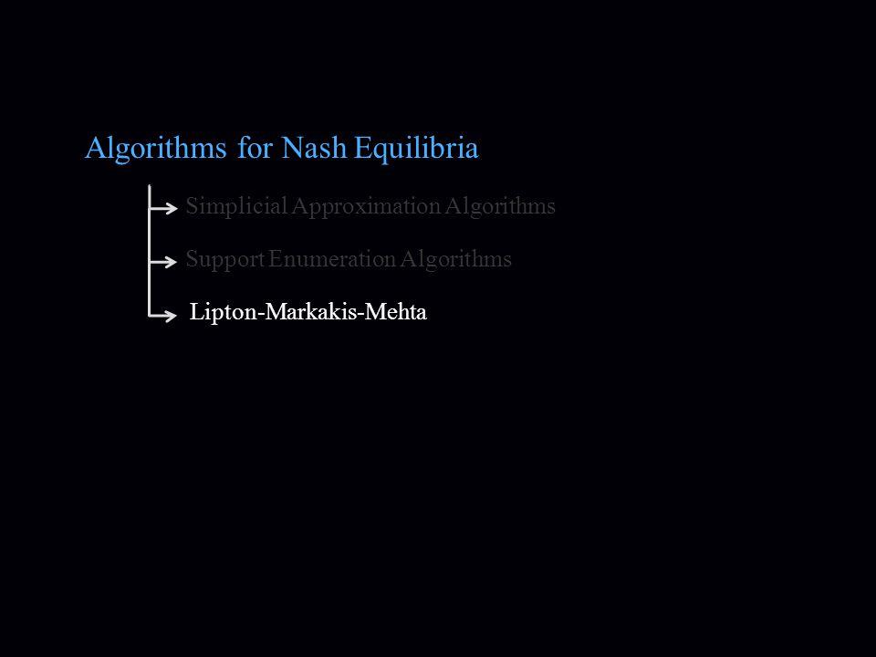 Algorithms for Nash Equilibria Simplicial Approximation Algorithms Support Enumeration Algorithms Lipton-Markakis-Mehta