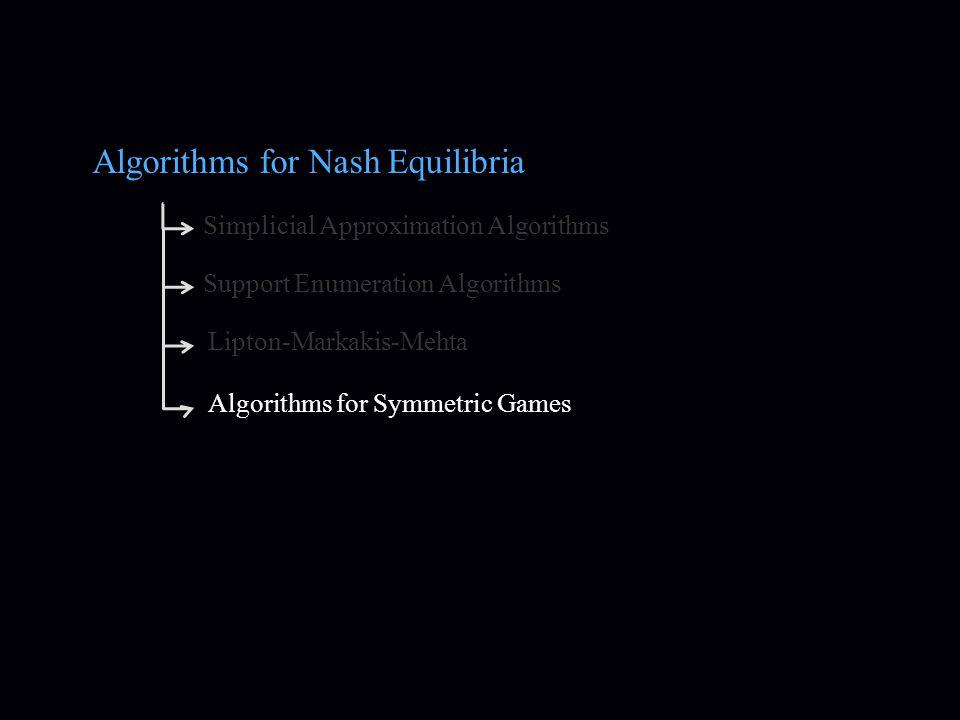 Algorithms for Nash Equilibria Simplicial Approximation Algorithms Support Enumeration Algorithms Lipton-Markakis-Mehta Algorithms for Symmetric Games