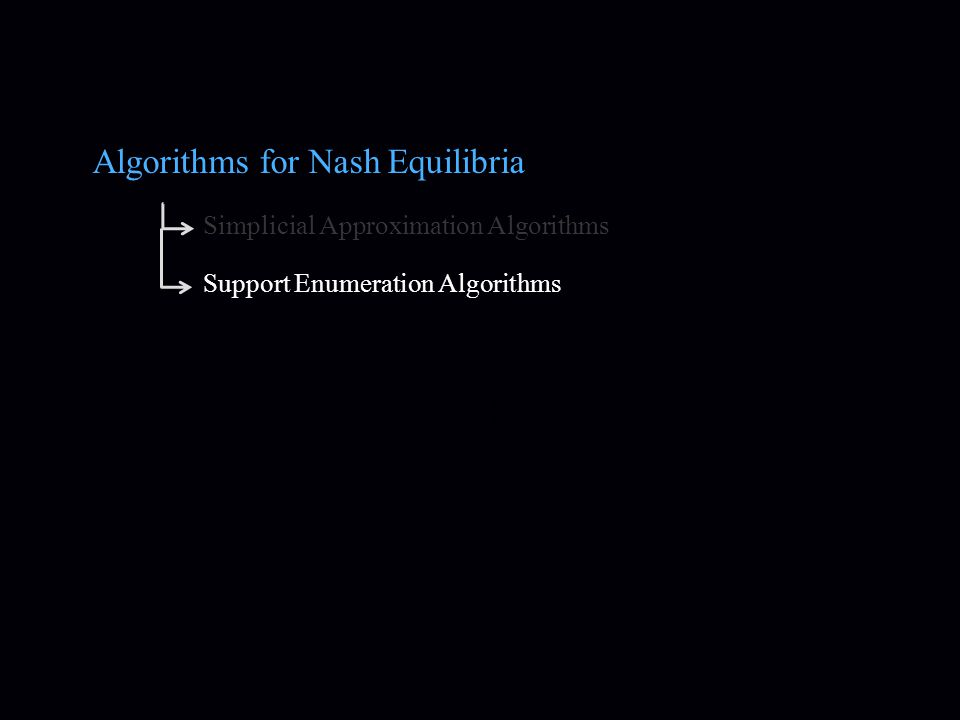 Algorithms for Nash Equilibria Simplicial Approximation Algorithms Support Enumeration Algorithms
