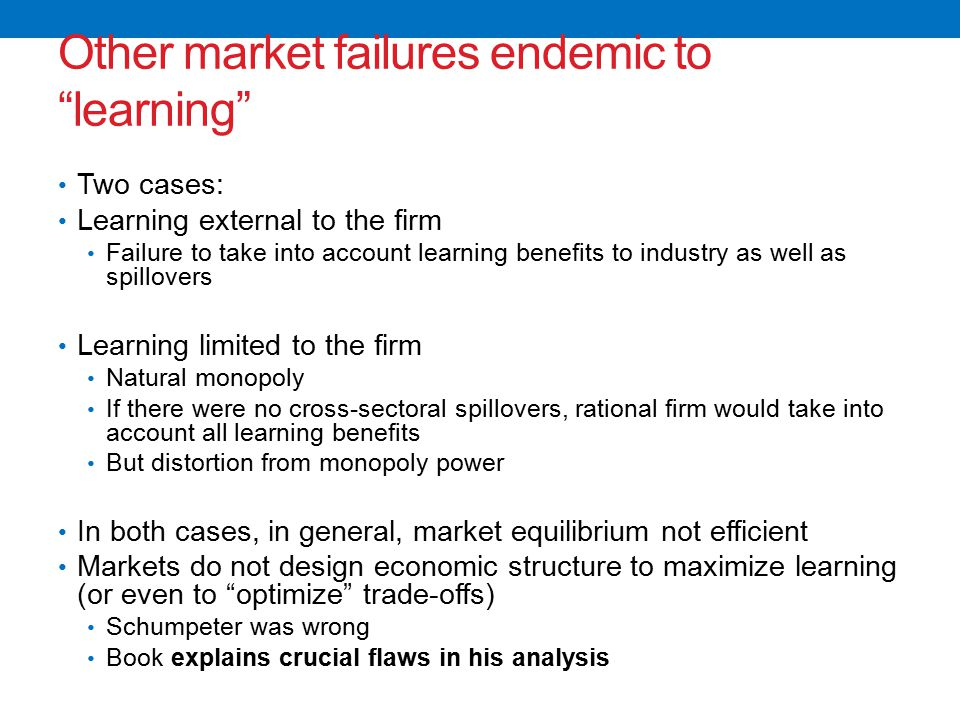 Other market failures endemic to learning Two cases: Learning external to the firm Failure to take into account learning benefits to industry as well as spillovers Learning limited to the firm Natural monopoly If there were no cross-sectoral spillovers, rational firm would take into account all learning benefits But distortion from monopoly power In both cases, in general, market equilibrium not efficient Markets do not design economic structure to maximize learning (or even to optimize trade-offs) Schumpeter was wrong Book explains crucial flaws in his analysis