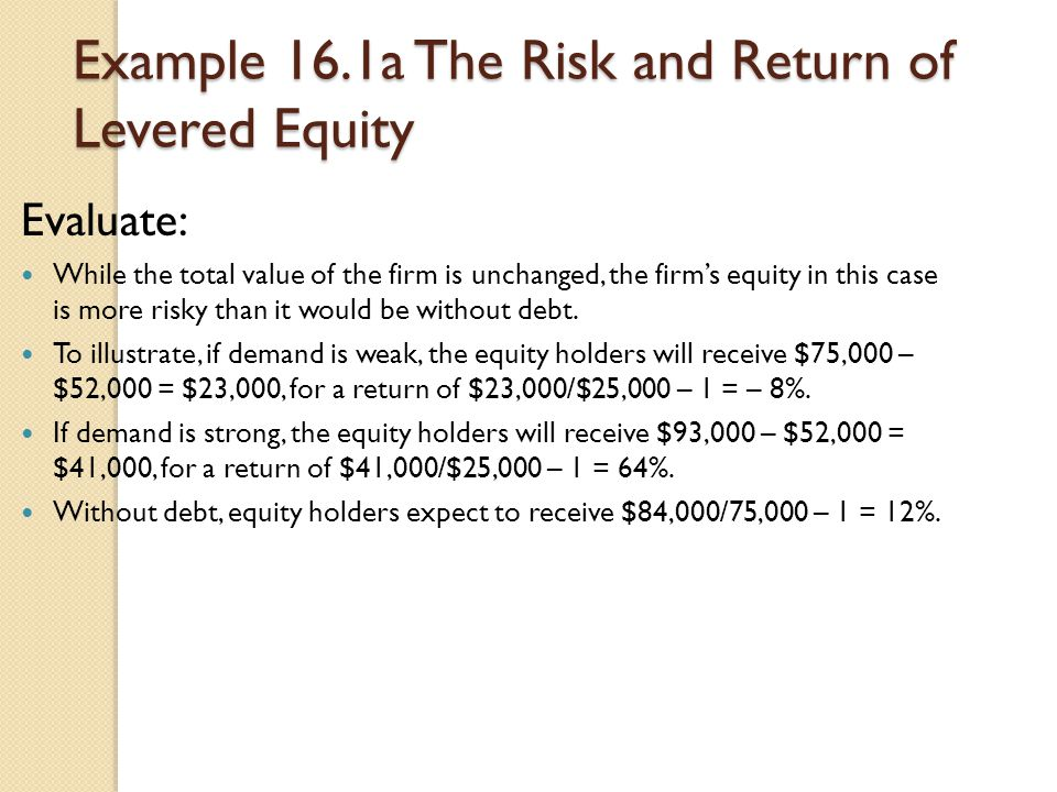 Example 16.1a The Risk and Return of Levered Equity Evaluate: While the total value of the firm is unchanged, the firm's equity in this case is more r