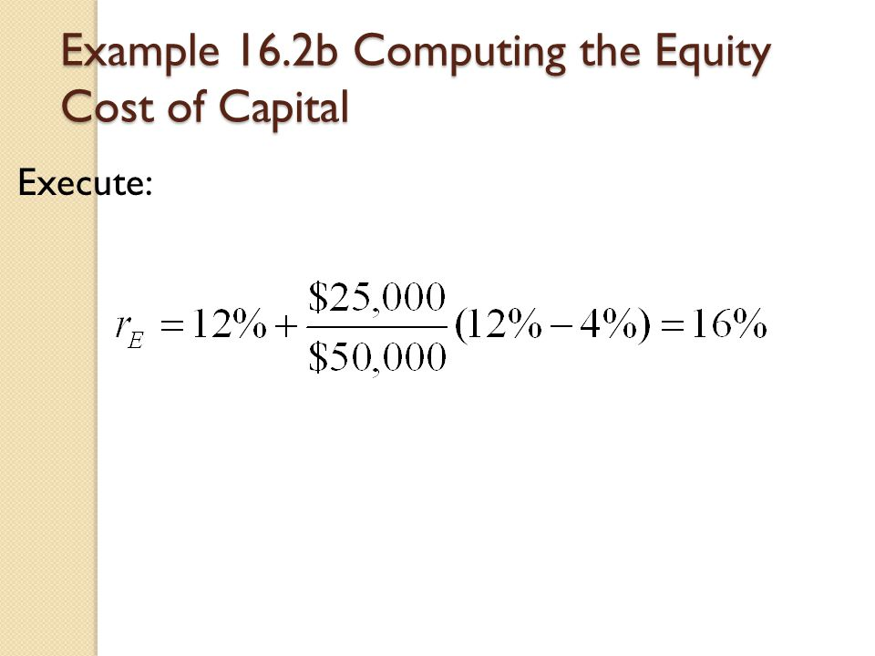 Example 16.2b Computing the Equity Cost of Capital Execute: