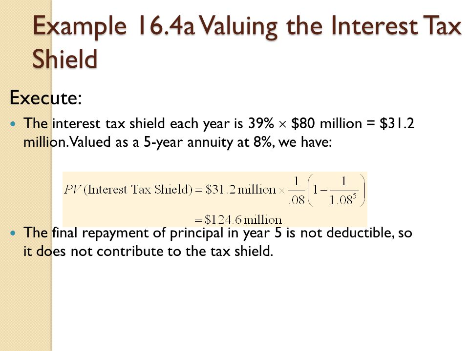 Example 16.4a Valuing the Interest Tax Shield Execute: The interest tax shield each year is 39%  $80 million = $31.2 million. Valued as a 5-year annu