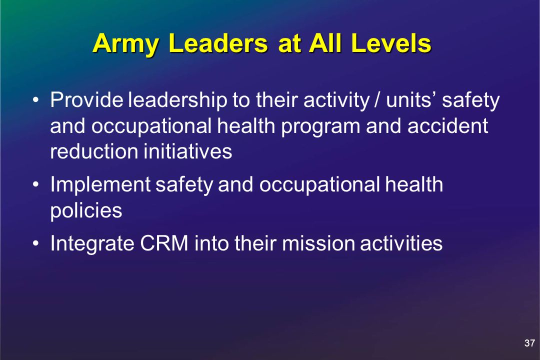 37 Army Leaders at All Levels Provide leadership to their activity / units' safety and occupational health program and accident reduction initiatives Implement safety and occupational health policies Integrate CRM into their mission activities