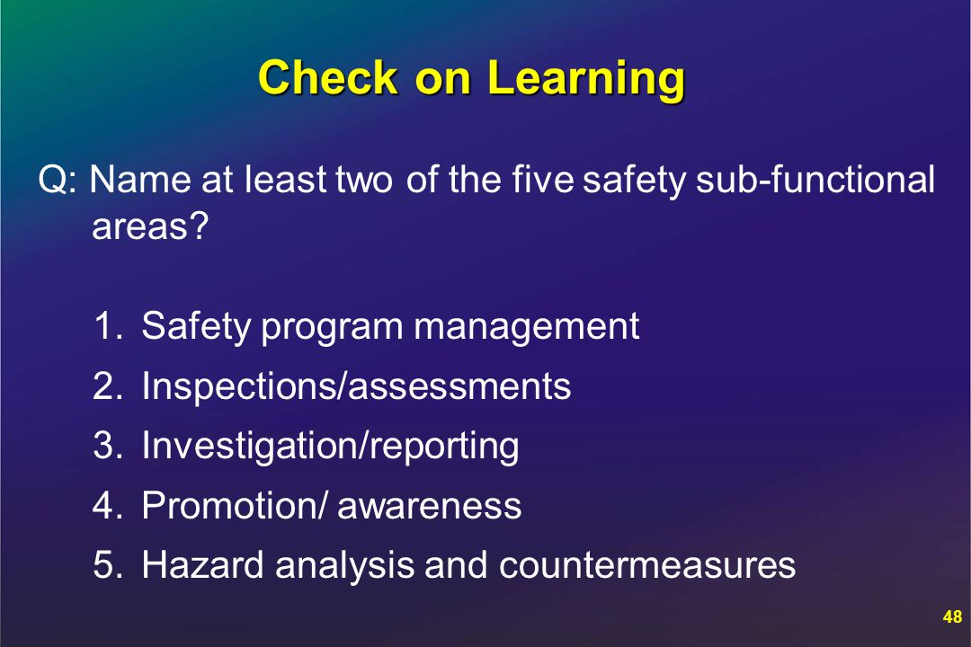 Check on Learning Q: Name at least two of the five safety sub-functional areas.