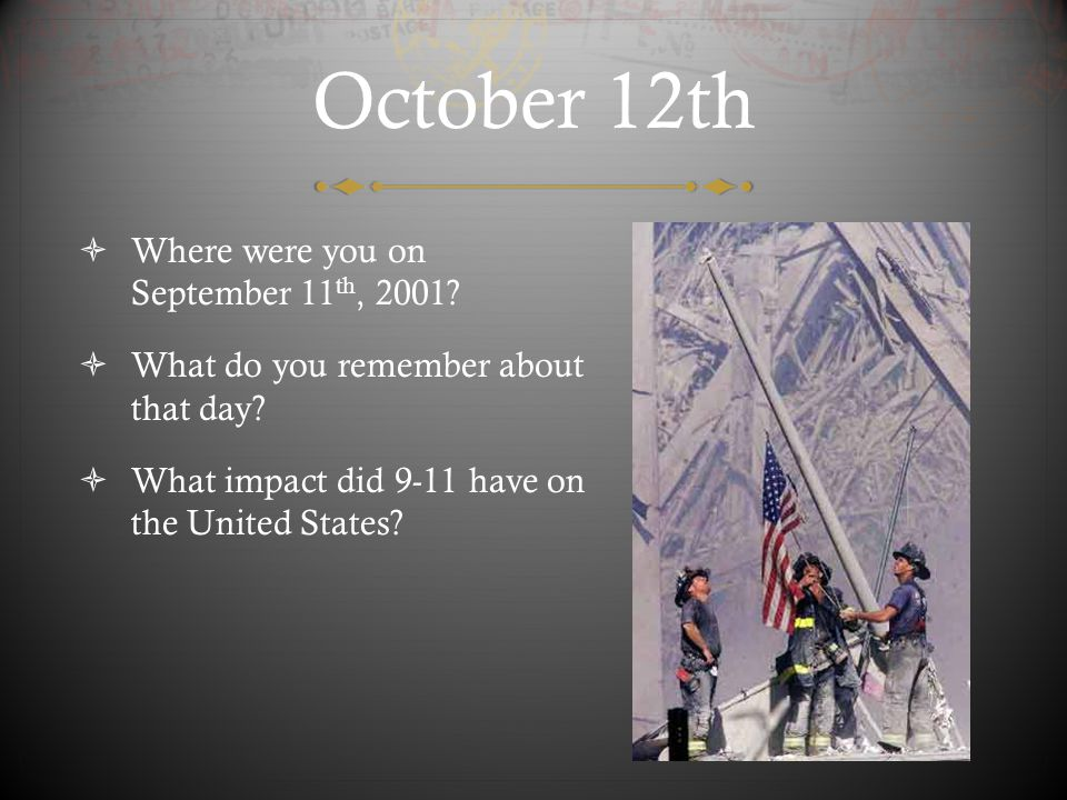 October 13th  Can a war on terror be won? Why or why not? If so, what would victory entail?
