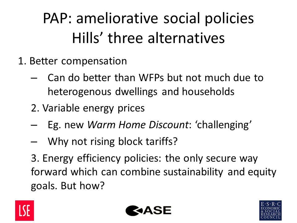 PAP: ameliorative social policies Hills' three alternatives 1.