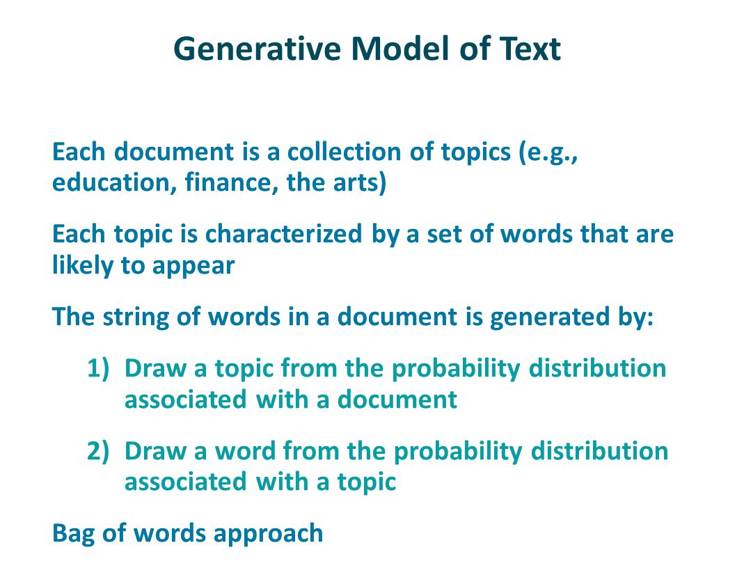 Generative Model of Text Each document is a collection of topics (e.g., education, finance, the arts) Each topic is characterized by a set of words th