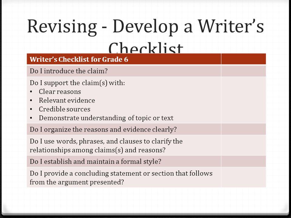 Revising - Develop a Writer's Checklist Writer's Checklist for Grade 6 Do I introduce the claim.