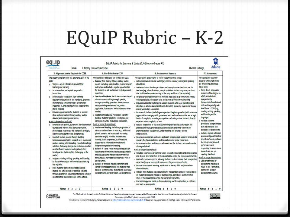 EQuIP Rubric – K-2