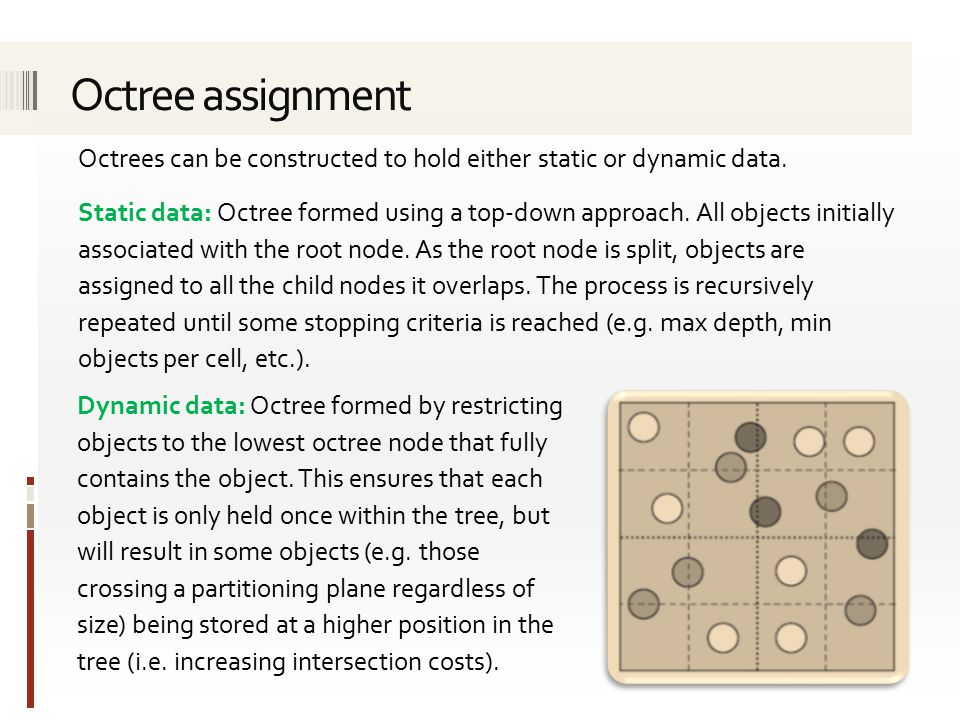 Octrees can be constructed to hold either static or dynamic data.