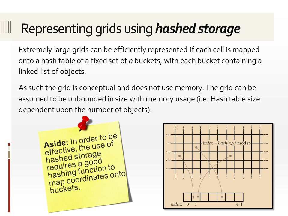 Extremely large grids can be efficiently represented if each cell is mapped onto a hash table of a fixed set of n buckets, with each bucket containing a linked list of objects.