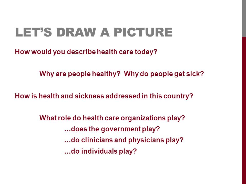 LET'S DRAW A PICTURE How would you describe health care today.
