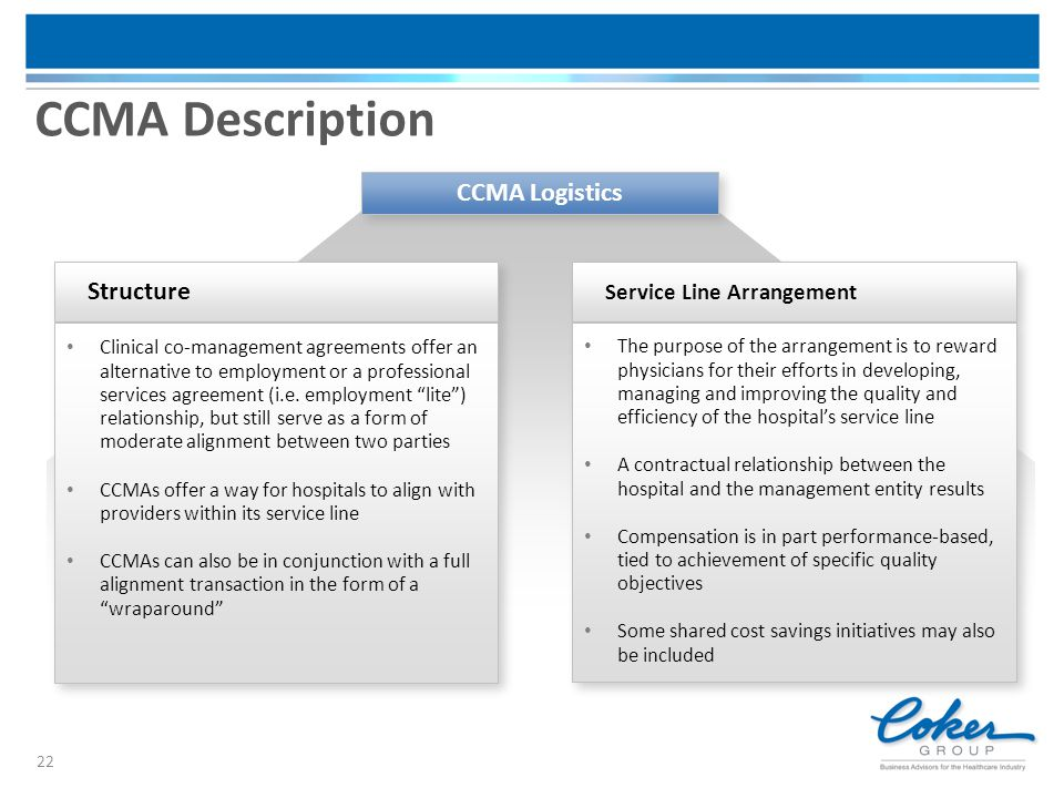 CCMA Description 22 Service Line Arrangement The purpose of the arrangement is to reward physicians for their efforts in developing, managing and impr