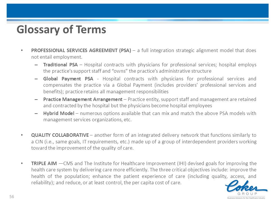 PROFESSIONAL SERVICES AGREEMENT (PSA) – a full integration strategic alignment model that does not entail employment. – Traditional PSA – Hospital con