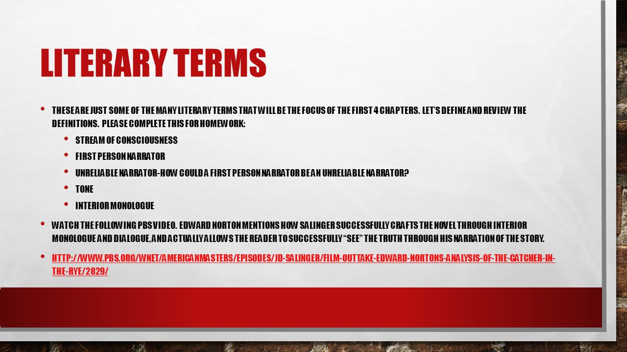 LITERARY TERMS THESE ARE JUST SOME OF THE MANY LITERARY TERMS THAT WILL BE THE FOCUS OF THE FIRST 4 CHAPTERS. LET'S DEFINE AND REVIEW THE DEFINITIONS.