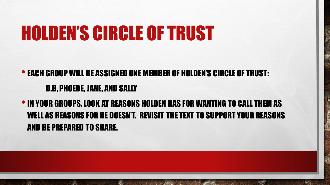 HOLDEN'S CIRCLE OF TRUST EACH GROUP WILL BE ASSIGNED ONE MEMBER OF HOLDEN'S CIRCLE OF TRUST: D.B, PHOEBE, JANE, AND SALLY IN YOUR GROUPS, LOOK AT REAS