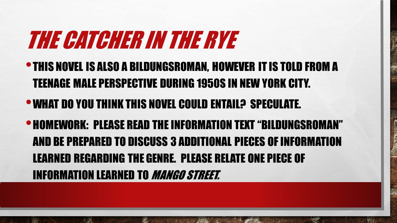 THE CATCHER IN THE RYE THIS NOVEL IS ALSO A BILDUNGSROMAN, HOWEVER IT IS TOLD FROM A TEENAGE MALE PERSPECTIVE DURING 1950S IN NEW YORK CITY. WHAT DO Y