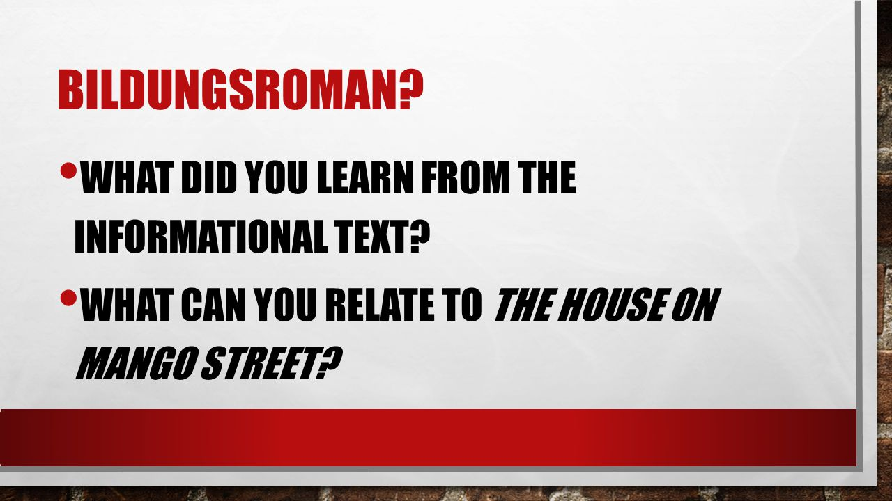 BILDUNGSROMAN? WHAT DID YOU LEARN FROM THE INFORMATIONAL TEXT? WHAT CAN YOU RELATE TO THE HOUSE ON MANGO STREET?