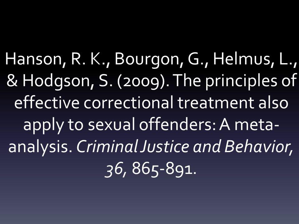 Hanson, R. K., Bourgon, G., Helmus, L., & Hodgson, S.