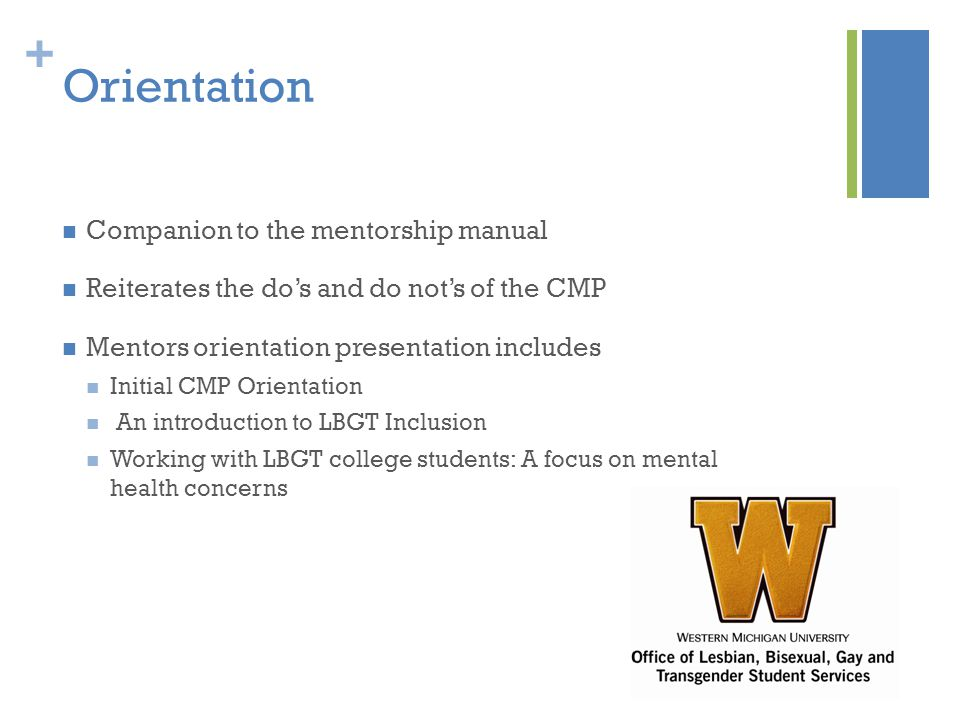 + Orientation Companion to the mentorship manual Reiterates the do's and do not's of the CMP Mentors orientation presentation includes Initial CMP Orientation An introduction to LBGT Inclusion Working with LBGT college students: A focus on mental health concerns