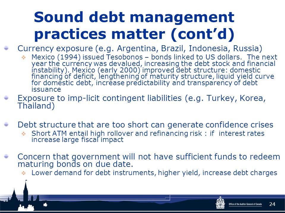 Sound debt management practices matter (cont'd) Currency exposure (e.g.